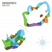 Abstract vector color map of KwaNdebele with transparent paint effect.
