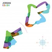 Abstract vector color map of Jordan with transparent paint effect.