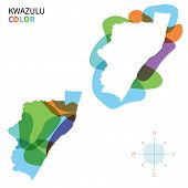 Abstract vector color map of KwaZulu with transparent paint effect.