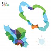 Abstract vector color map Iran of with transparent paint effect.