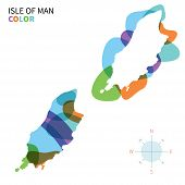 Abstract vector color map Isle of Man with paint effect.