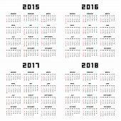 Calendar 2015 2016 2017 2018