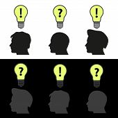 Men Heads With Light Bulb Idea Symbols Eps10