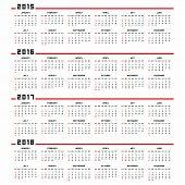 Calendar 2015, 2016, 2017, 2018