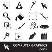 Computer Graphics Black Symbols Icon Set Eps10