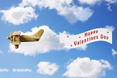 Vintage toy plane pulling a Valentines Day banner