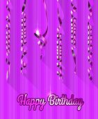 Happy Birthday Background with Gold Streamers. Vector Illustration.