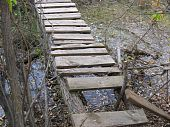 Broken wood bridge