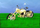 foto of chopper  - Vector illustration gold chopper on a green meadow - JPG