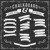 Chalkboard Banners, Ribbons and Design Elements - Illustration