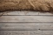 Wood background with sack textile