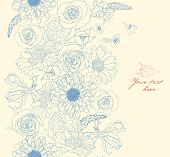 Vintage vector pattern with flower