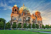image of dom  - sunset at Berlin Cathedral or Berlin Dom Germany - JPG