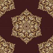 Damask Seamless Vector Pattern. Orient Golden Background