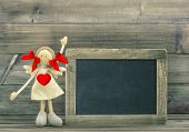Doll With Red Heart. Valentines Day Decoration With Blackboard