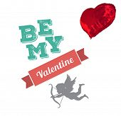 be my valentine against red heart balloon