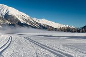 picture of nordic skiing  - Nordic ski track during the winter season - JPG