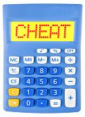 picture of cheating  - Calculator with CHEAT on display isolated on white background - JPG