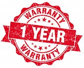 1 Year Warranty Red Vintage Isolated Seal