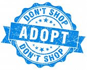 Adopt Don't Shop Blue Vintage Isolated Seal