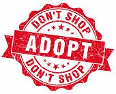 Adopt Don't Shop Red Vintage Isolated Seal