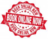 Book Online Now Red Vintage Isolated Seal