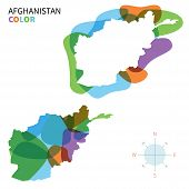 Abstract vector color map of Afghanistan with transparent paint effect.