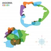 Abstract vector color map of Andorra with transparent paint effect.