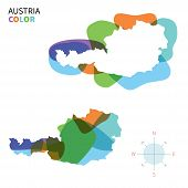 Abstract vector color map of Austria with transparent paint effect.