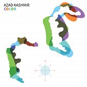 Abstract vector color map of Azad Kashmir with transparent paint effect.