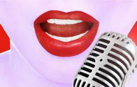 image of karaoke  - Singing woman and retro microphone - JPG
