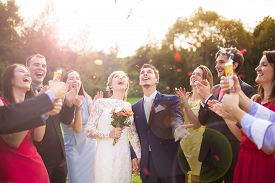 stock photo of married  - Full length portrait of newlywed couple and their friends at the wedding party showered with confetti in green sunny park - JPG