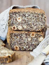 stock photo of seed  - Flourless bread with sunflower - JPG