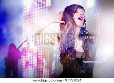 beautiful woman listening to music and singing live music background poster