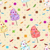 stock photo of lollipops  - Seamless pattern of sweets cotton candy lollipops little colored stars circles - JPG