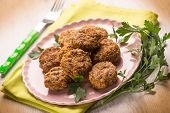 foto of meatball  - meatballs with parsley - JPG
