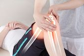 picture of physiotherapist  - Digital composite of Highlighted bones of woman at physiotherapist - JPG