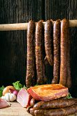 pic of meats  - collage of different kinds of meat smoked sausage and meat - JPG