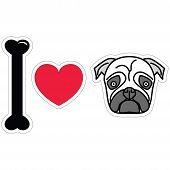 stock photo of pug  - I love pugs in black plain sticker style icon - JPG