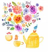 foto of tea party  - Cute tea time card watercolor painting background - JPG