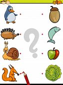 image of brain-teaser  - Cartoon Illustration of Education Element Matching Game for Preschool Children with Animals and their Favorite Food - JPG