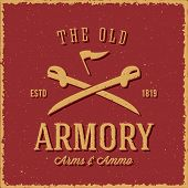 pic of ammo  - Old Armory Arms and Ammo Abstract Vintage Label - JPG