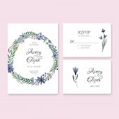 foto of thank you card  - Unique gentle vector wedding cards template with watercolor - JPG
