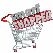 image of comparison  - Smart Shopper 3d words in shopping cart to illustrate saving money by comparison research in buying products - JPG