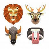 picture of african lion  - Animal portraits made in unique geometrical flat style - JPG