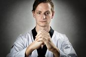 pic of karate-do  - Image of a teakwon do master in kwon meditation position - JPG