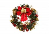 picture of christmas wreath  - an isolated holiday christmas wreath over white - JPG