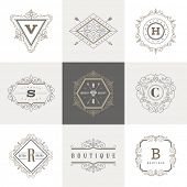 picture of flourish  - Monogram logo template with flourishes calligraphic elegant ornament elements - JPG