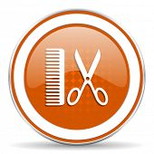 pic of barber  - barber orange icon   - JPG