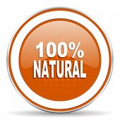 picture of 100 percent  - natural orange icon 100 percent natural sign  - JPG